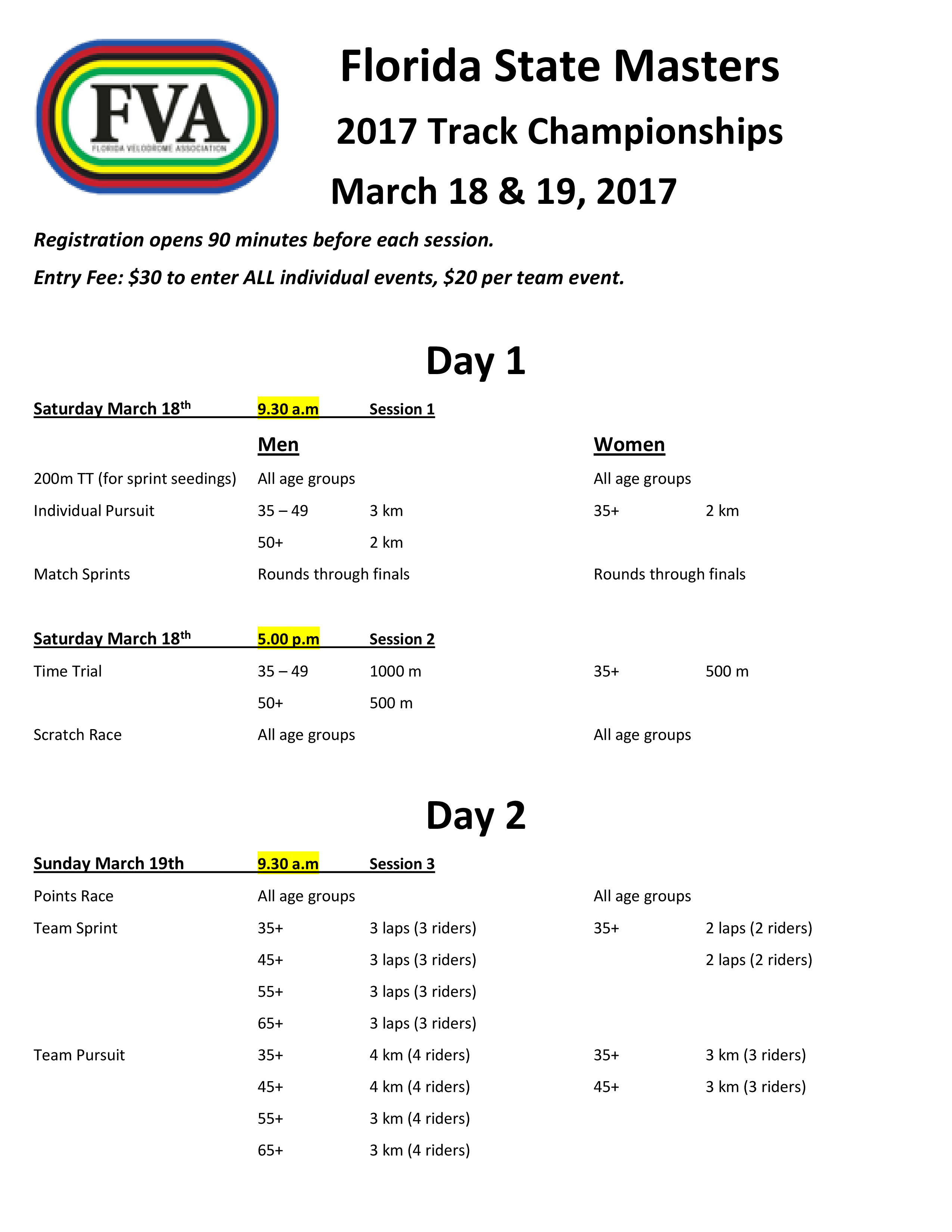 Florida State Masters 2017 details